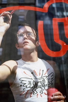 Keith Harring Painting on glass