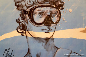 David with Swimming Goggles Mural, Florence Italy