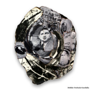The Photo Collage memorializes anonymous French gravestone portraits from the Holocaust era.