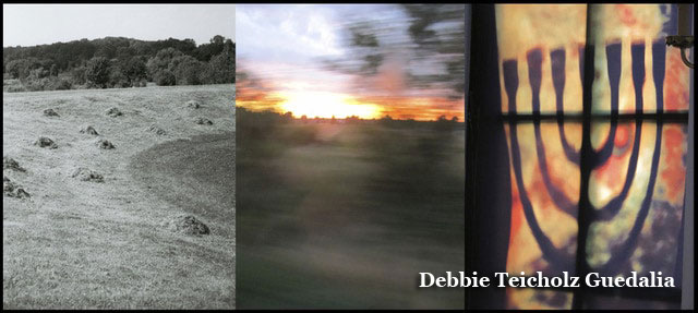 Triptych photograph of Plaslow fiels, burning polish sunsetand burning menorah. Page 9 of the self published book : The earth has not forgotten- A journey to Poland.