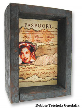 the Photo collage: Paspoort is a ripped, burned faxcimile of my mother's passport form the 1940's.